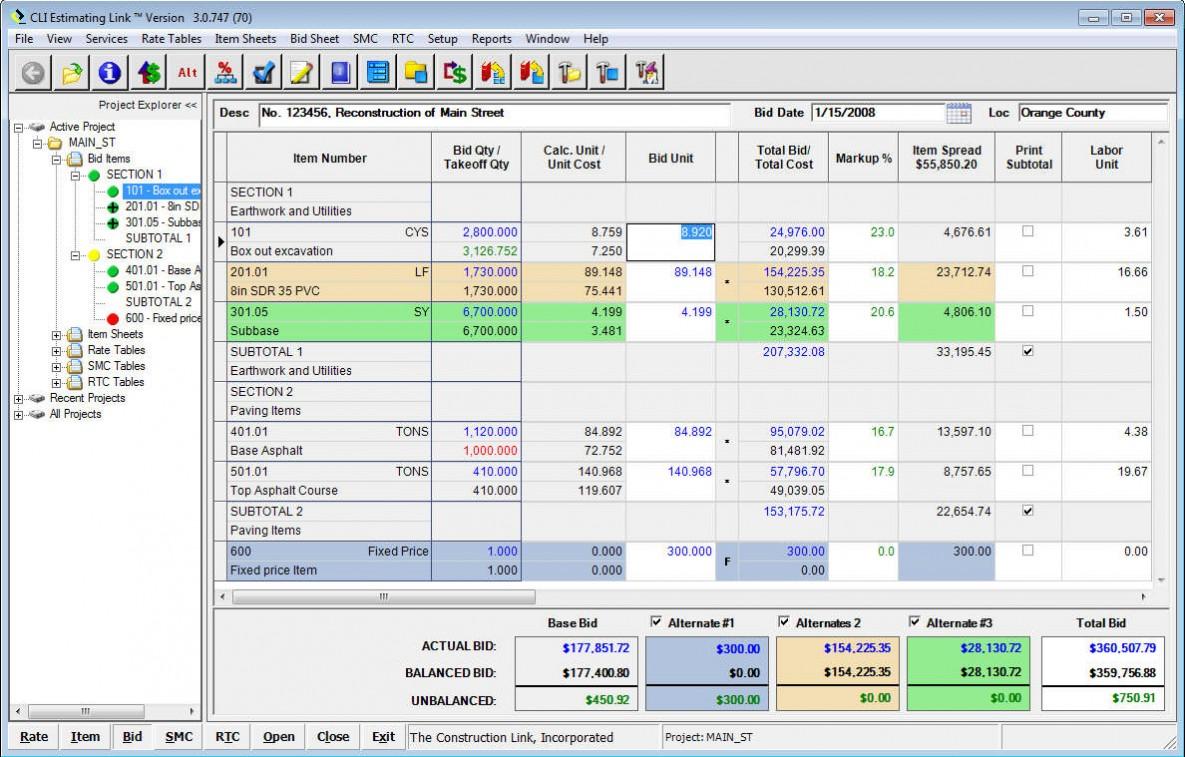 Bid Sheet with Bid Unit Cost