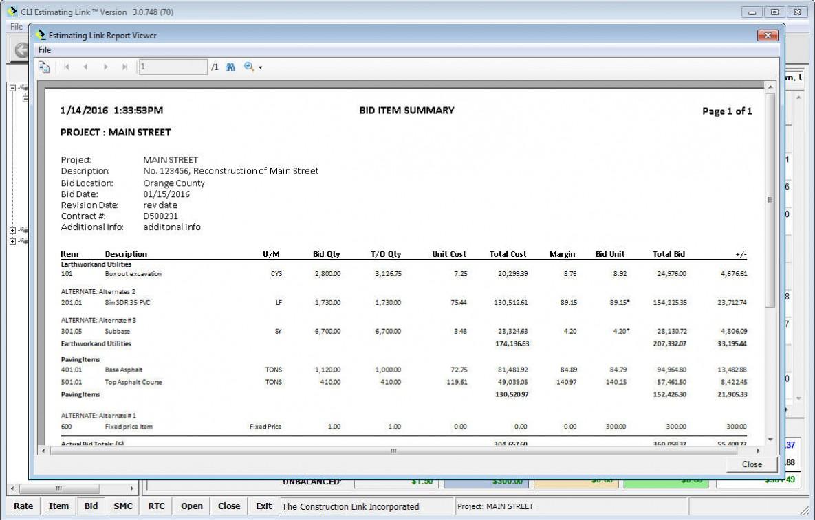 Bid Item Summary Report
